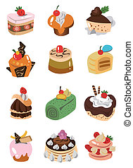 cartone animato, icona, torta