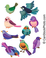 cartone animato, icona, uccello