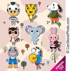 cartone animato, icone animali