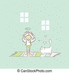 cartone animato, illustrazione, angelo, gatto