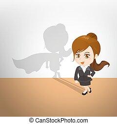 cartone animato, illustrazione, donna d'affari, atto, superhero