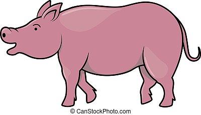 cartone animato, illustrazione, maiale