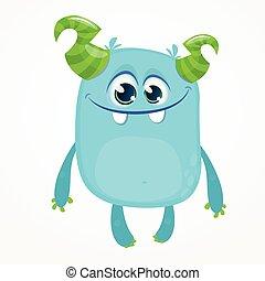 cartone animato, illustrazione, monster., vettore, halloween, divertente