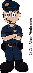 cartone animato, illustrazione, polizia, vettore