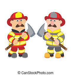 cartone animato, illustrazione, pompiere