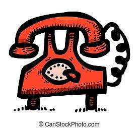 cartone animato, immagine, di, telefono, icone, set., telefono, simboli
