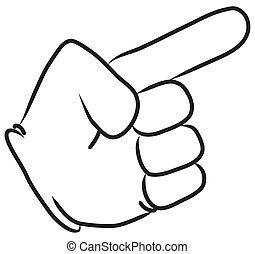 cartone animato, indicare, mano