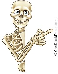 cartone animato, indicare, scheletro