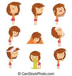 cartone animato, infelice, ragazza, sofferenza, da, dolore, con, sintomi, di, malattie, in, vario, atteggiarsi, set, di, colorito, dettagliato, vettore, illustrazioni, isolato, bianco, fondo