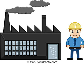 cartone animato, ingegnere, con, fabbrica