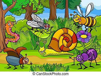 cartone animato, insetti, su, natura, scena rurale