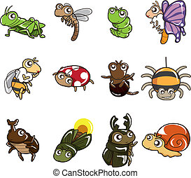 cartone animato, insetto, icona