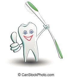 cartone animato, isolato, dente bianco, fondo., sorridente