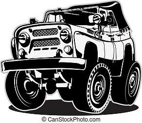 cartone animato, jeep
