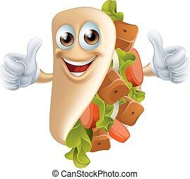 cartone animato, kebab, uomo
