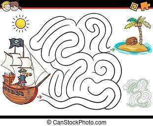 cartone animato, labirinto, attività, con, pirata, e, tesoro
