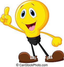 cartone animato, lampadina, indicare, suo, pinna