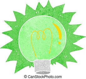 cartone animato, lampeggio, spia verde, bulbo