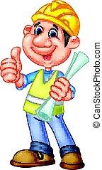 cartone animato, lavoratore costruzione, riparatore