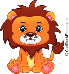 cartone animato, leone, carino, bambino