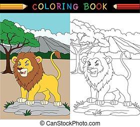 cartone animato, leone, libro colorante