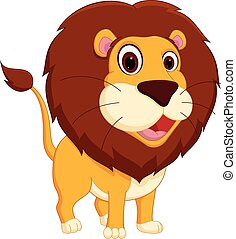 cartone animato, leone, standing, carino