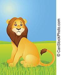 cartone animato, leone