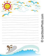 cartone animato, lettera, sole, mare
