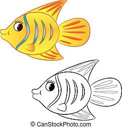 cartone animato, libro, coloritura, fish.