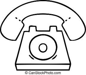 cartone animato, linea, telefono, rosso, disegno
