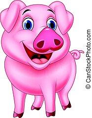 cartone animato, maiale, carattere