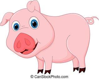 cartone animato, maiale, carino