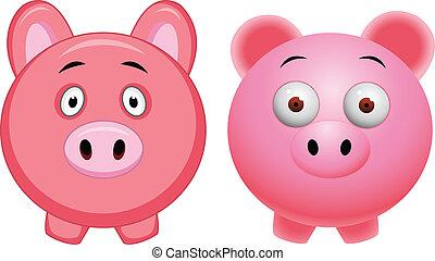 cartone animato, maiale