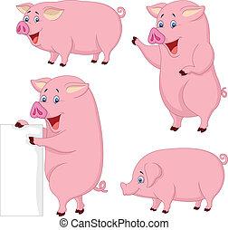 cartone animato, maiale, grasso, collezione