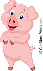 cartone animato, maiale, proposta, carino