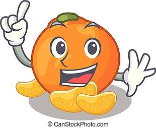cartone animato, mandarino, isolato, dito