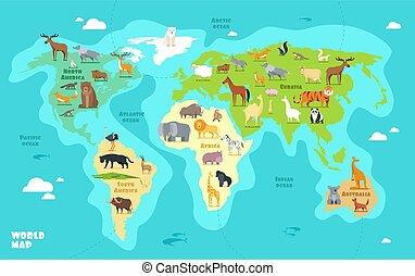 cartone animato, mappa mondo, con, animali, oceani, e, continents., divertente, geografia, per, bambini, educazione, vettore, illustrazione