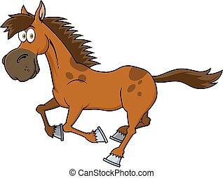 cartone animato, marrone, carattere, cavallo, correndo