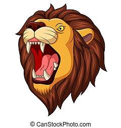 cartone animato, mascotte, testa, leone, arrabbiato