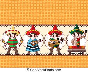 cartone animato, messicano, fascia musica, scheda,