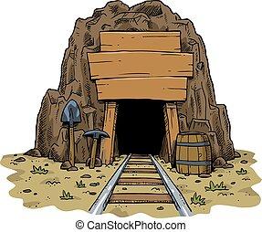 cartone animato, miniera