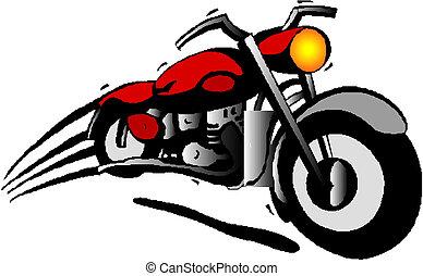 cartone animato, motocicletta, vettore