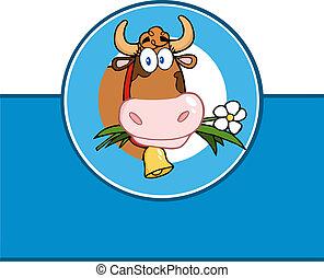 cartone animato, mucca, etichetta