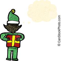 cartone animato, natale, elfo, con, presente