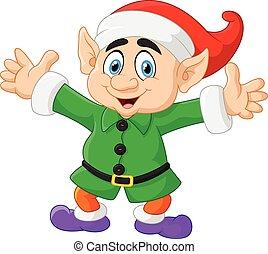 cartone animato, natale, elfo, ondeggiare