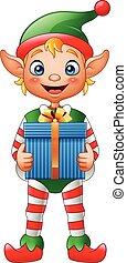 cartone animato, natale, elfo, presa a terra, scatola regalo