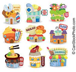 cartone animato, negozio, costruzione, icona, set