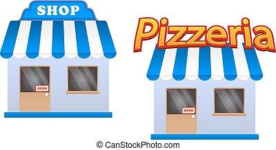 cartone animato, negozio, e, pizzeria, icone