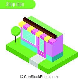 cartone animato, negozio, negozio, cafe., vettore, illustration., isometrico, icona, città, infographic, elemento, il giocare, disegno