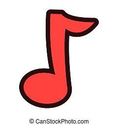cartone animato, nota musica, icona